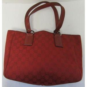 GUCCI red GG monogram small tote bag